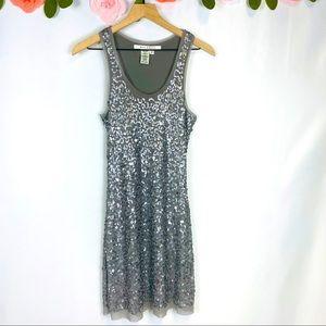 Max Studio Silver Sequin Holiday Dress Small